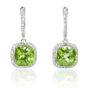 Diamond and Peridot 14k White Gold Dangle Earrings