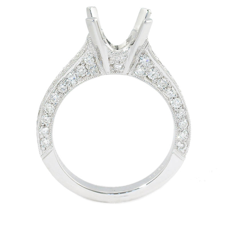 83ct antique style platinum engagement ring mounting