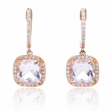 18ct Diamond And Pink Amethyst 14k Rose Gold Dangle Earrings