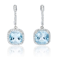 .22ct Diamond and Blue Topaz 14k White Gold Dangle Earrings