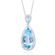 .20ct Diamond and Blue Topaz 14k White Gold Pendant Necklace