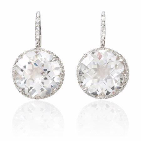 Diamond and White Quartz 14k White Gold Dangle Earrings