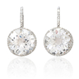 .30ct Diamond and White Quartz 14k White Gold Dangle Earrings