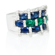 .54ct Diamond Blue Sapphire & Emerald 18k White Gold Ring