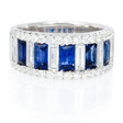 1.25ct Diamond and Blue Sapphire 18k White Gold Ring