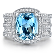 Natalie K Diamond and Aquamarine 18k White Gold Ring