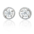 .58ct Diamond 18k White Gold Cluster Earrings