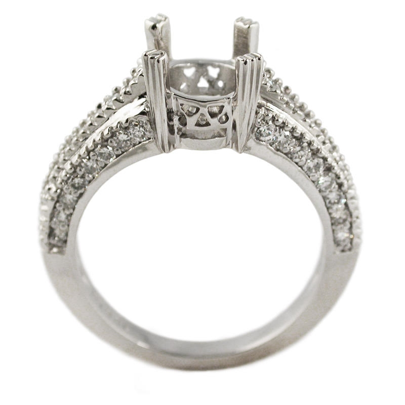 78ct antique style platinum engagement ring setting