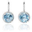 .18ct Diamond and Blue Topaz 14k White Gold Dangle Earrings