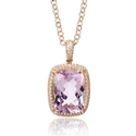 Diamond and Pink Amethyst 14k Rose Gold Pendant