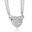 1.04ct Diamond 18k White Gold Heart Pendant Necklace