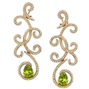 Natalie K Diamond and Peridot 18k Rose Gold Dangle Earrings