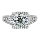Natalie K Diamond 18k White Gold Halo Engagement Ring Setting