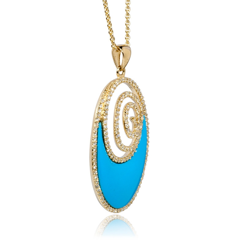 80ct Diamond And Turquoise 14k Yellow Gold Pendant Necklace