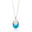 .80ct Diamond and Turquoise 14k Yellow Gold Pendant Necklace