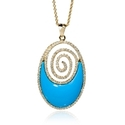 Diamond and Turquoise 14k Yellow Gold Pendant Necklace