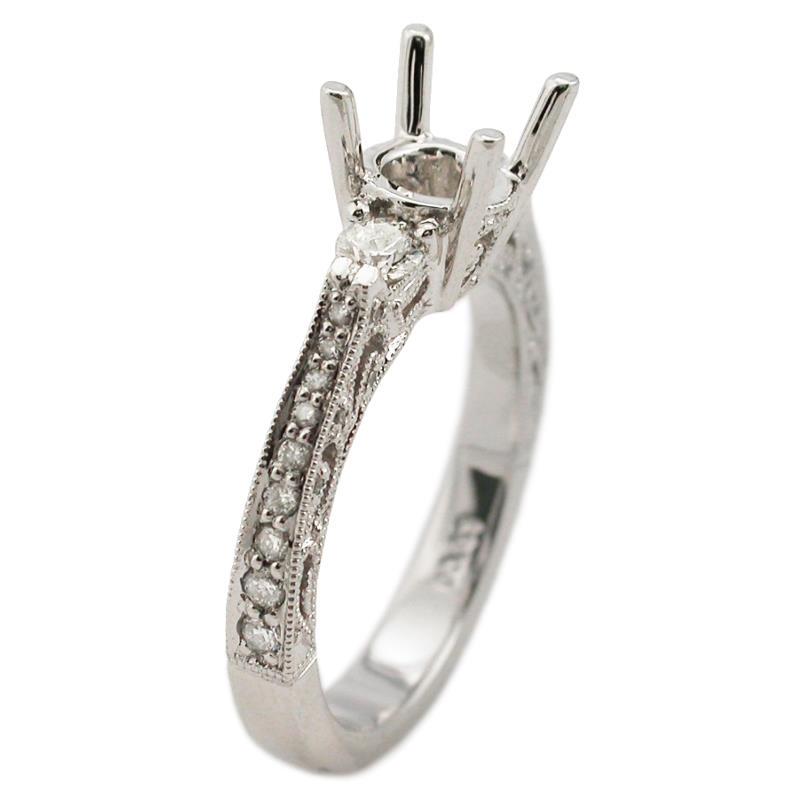 43ct antique style platinum engagement ring setting