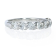 1.01ct Diamond 18k White Gold Seven Stone Gemlock Wedding Band Ring