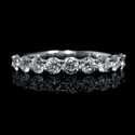 Diamond 1.01 Carats 18k White Gold Round Brilliant Cut Common Prong Wedding Band Ring