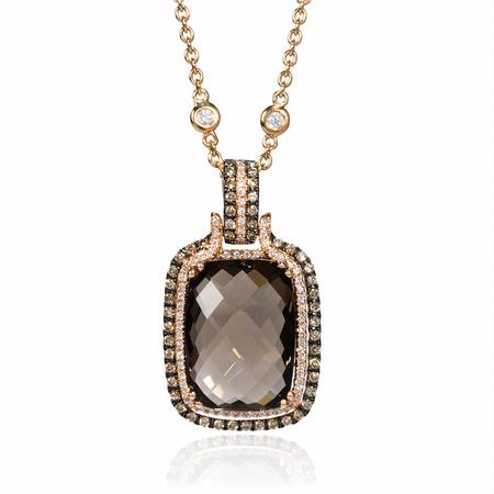Diamond and Smokey Topaz 14k Rose Gold Pendant