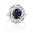 1.13ct Diamond and Amethyst 18k White Gold Ring