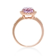 .15ct Diamond and Pink Amethyst 14k Rose Gold Ring