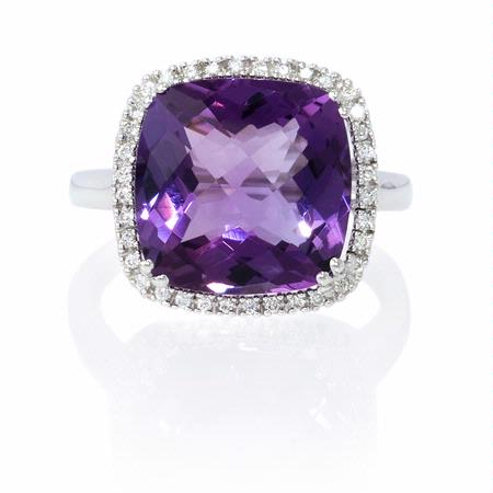 Diamond and Amethyst 14k White Gold Ring
