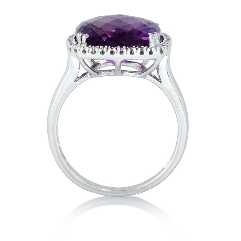 12ct and amethyst 14k white gold ring