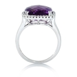 .12ct Diamond and Amethyst 14k White Gold Ring