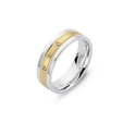 .07ct Men's Diamond 14k Two Tone Gold Wedding Band Ring