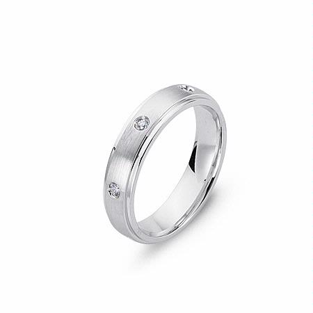 Men's Diamond 14k White Gold Wedding Band Ring