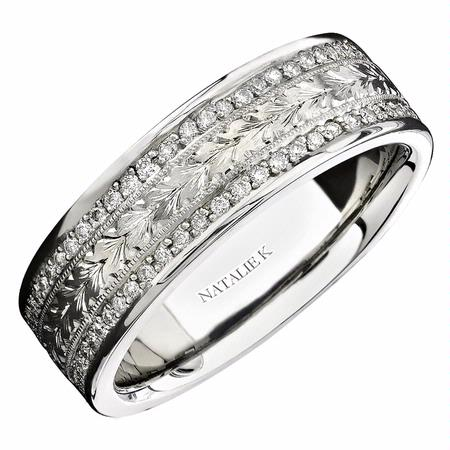 Natalie K Men's Diamond Antique Style 18k White Gold Eternity Wedding Band Ring