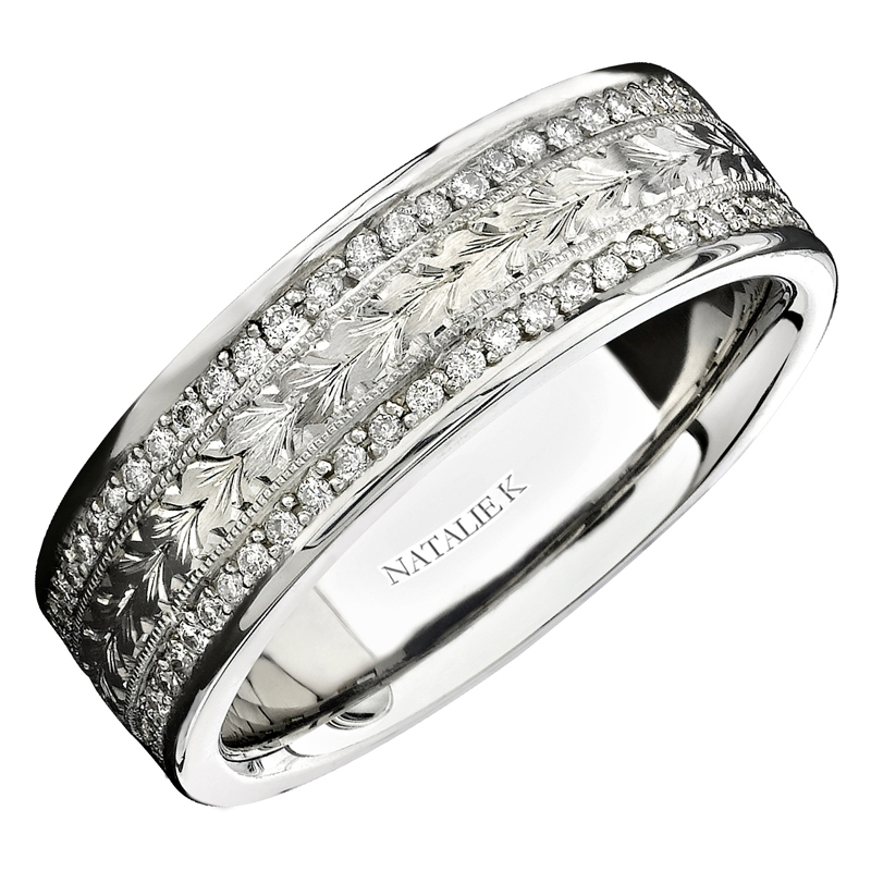 K Mens Diamond Antique Style 18k White Gold Eternity Wedding Band