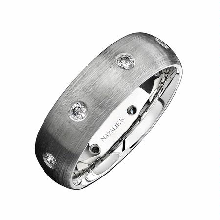 Natalie K Men's Diamond 18k White Gold Wedding Band Ring