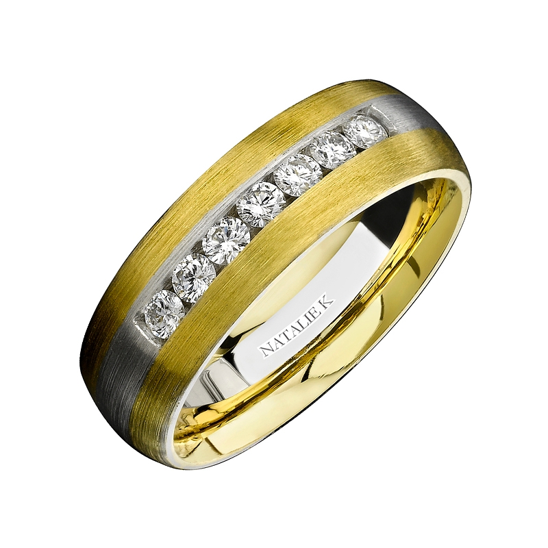 polished matching stepedge gold edge raised for ring p carbide wedding hers tungsten set twotone his band tone couples bands with and step center two jewelry