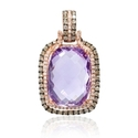 Diamond and Amethyst 14k Rose Gold Pendant