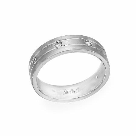 Simon G Men's Diamond 18k White Gold Wedding Band Ring