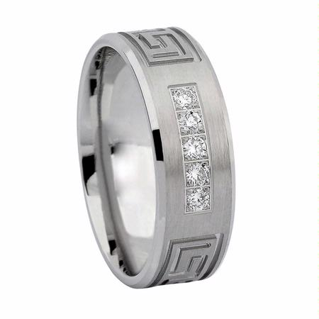Men's Diamond 14k White Gold Greek Key Wedding Band Ring