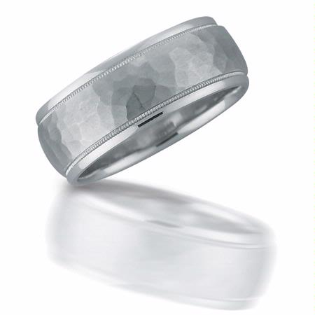 Men's Antique Style 18k White Gold Wedding Band Ring