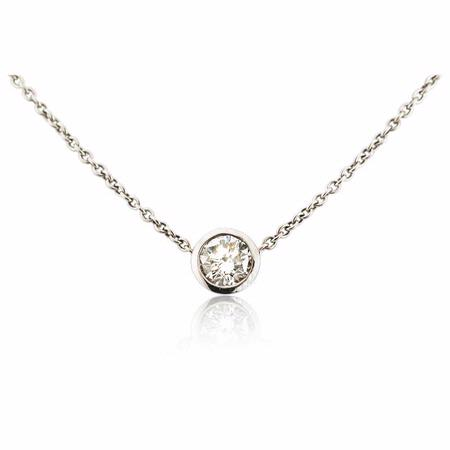 Diamond Solitaire 18k White Gold Pendant Necklace