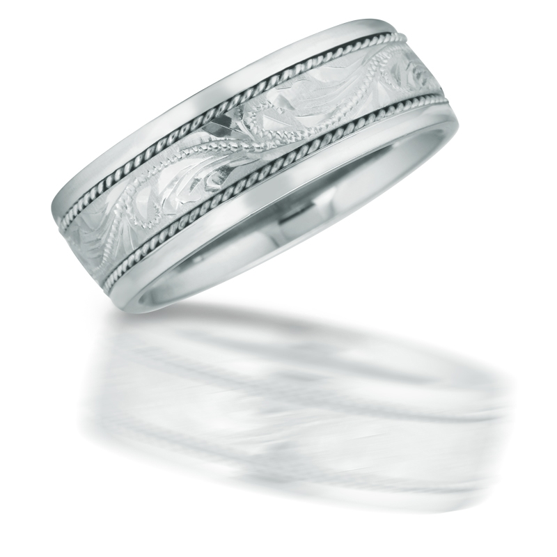 Antique Style 14k White Gold Wedding Band Ring