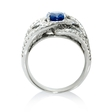 2.70ct Diamond and Blue Sapphire 18k White Gold Ring