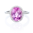 .14ct Diamond and Pink Quartz 14k White Gold Ring