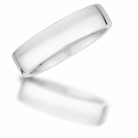Men's 18k White Gold Sensual European Cut Wedding Band Ring