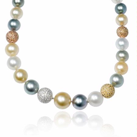 Diamond and South Sea Pearl 18k Three Tone Gold Necklace