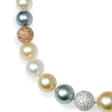 10.00ct Diamond and South Sea Pearl 18k Three Tone Gold Necklace