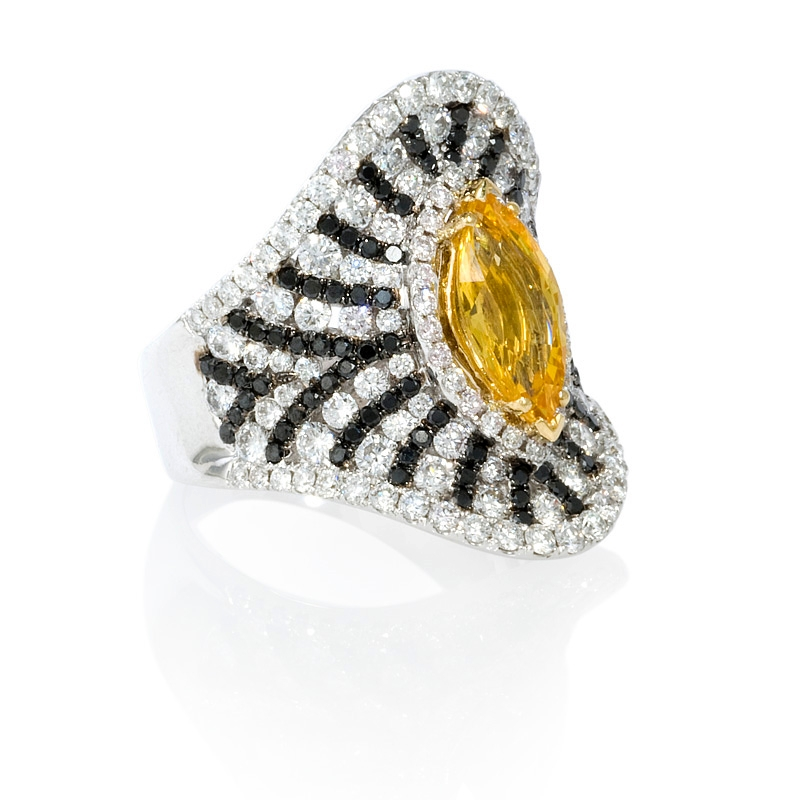 2 68ct and yellow sapphire 18k white gold ring