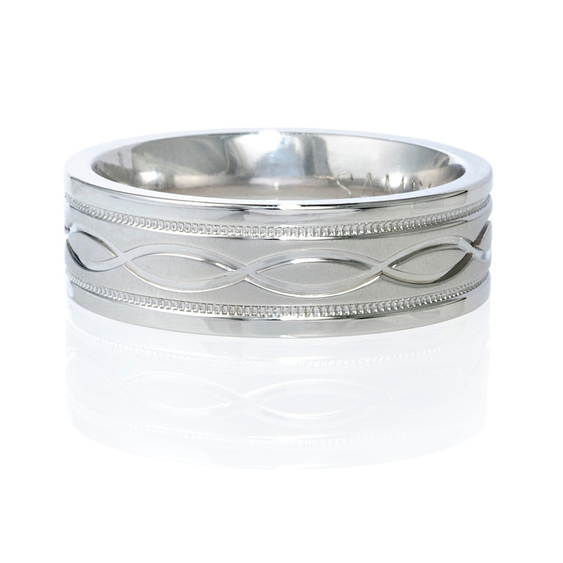 s antique style platinum wedding band ring