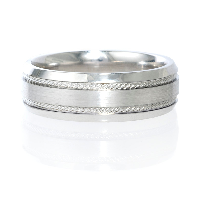 Mens Antique Style Platinum Wedding Band Ring