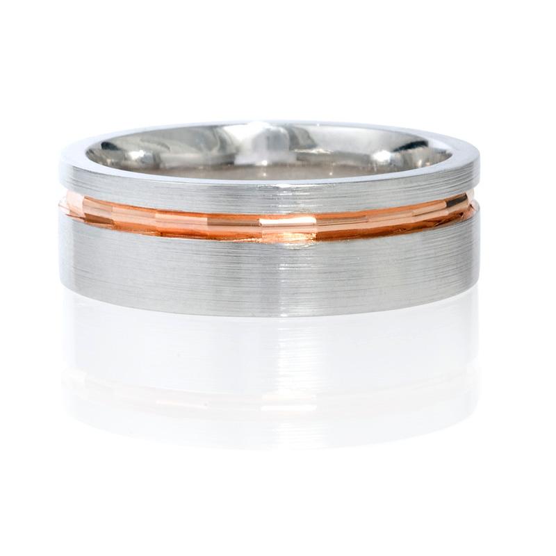 Mens Platinum And 18k Rose Gold Wedding Band Ring